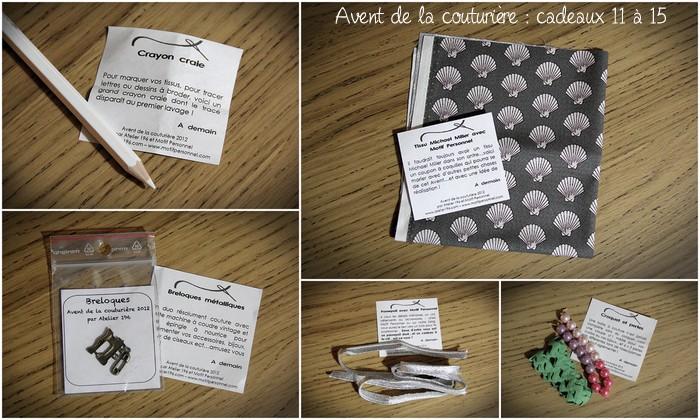 ♡ ♡ L'avent de la couturière : cadeaux 11 à 15 ♡ ♡