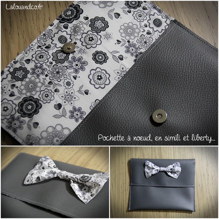 Ma pochette à noeud, en simili gris et liberty lauren