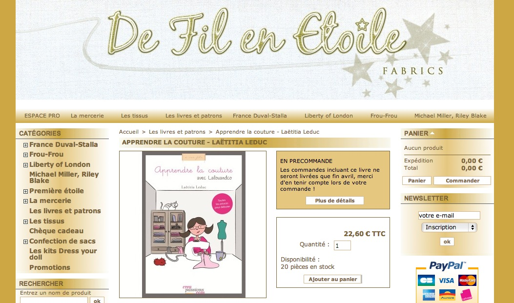 Apprendre la couture avec Lalouandco : disponible chez De Fil en Étoile
