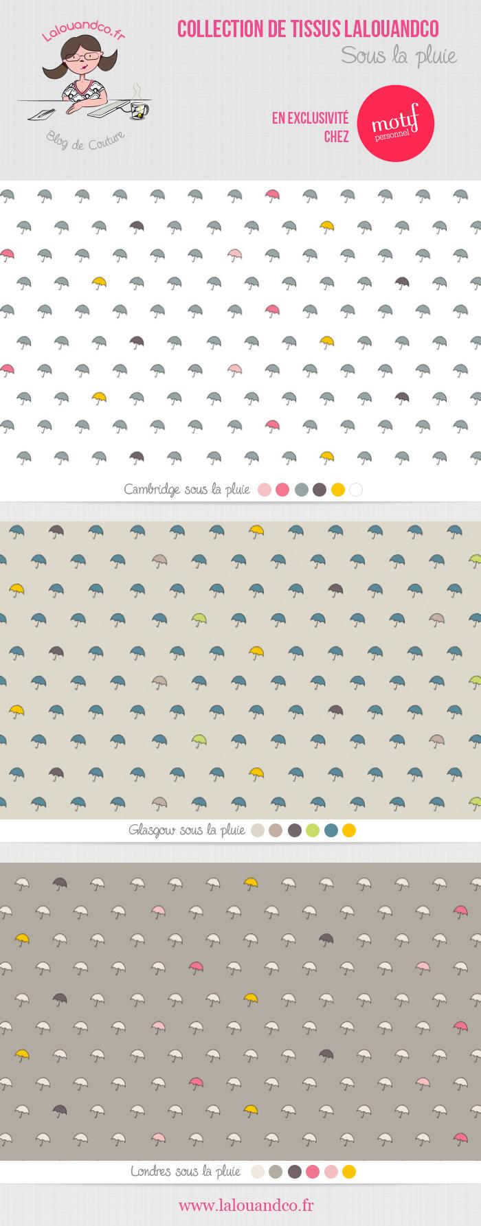 """Tissus """"Sous la pluie"""" Lalouandco"""