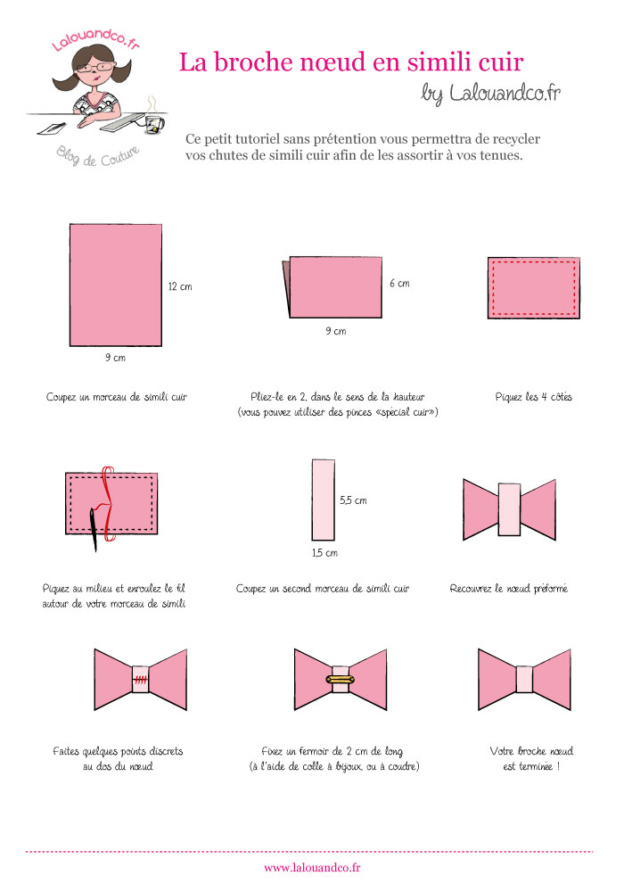 Tutoriel la broche noeud en simili lalouandco - Comment faire un noeud papillon en tissu ...