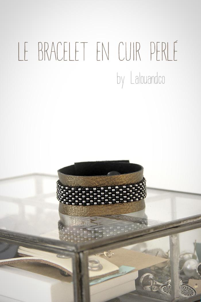 Bracelet en cuir perlé [tutoriel]